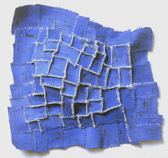 "Recollection...Blue , 2005 paper, cloth, acrylic paint, thread, marble dust 13""x13""x2"""