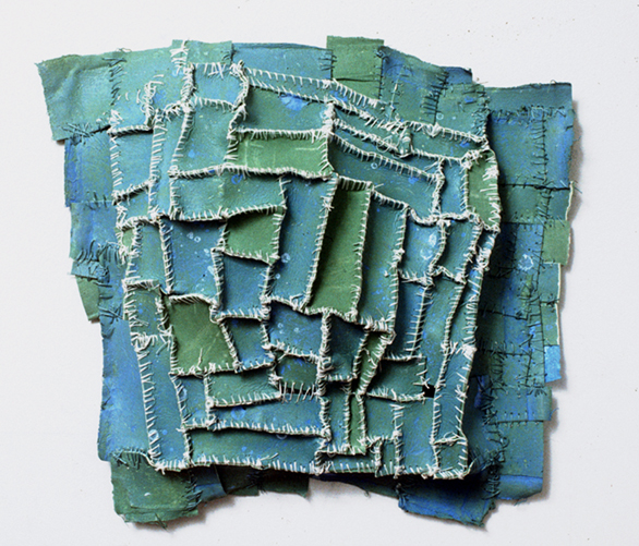 "Recollection...Green , 2005 paper, cloth, acrylic paint, thread, marble dust 10 1/2""x11 1/2""x2 1/2"""