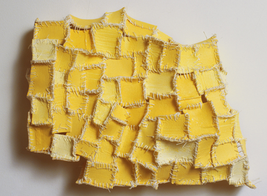 "Recollection...Yellow (2) , 2006 cloth, paper, acrylic paint, thread, marble dust 8""x10""x2"""