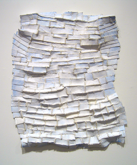 "White Shadows  paper, cloth, acrylic paint, thread, marble dust 24""x19 1/2""x2 1/2"""
