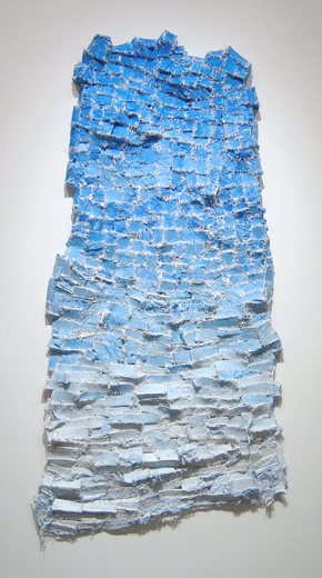 "Blue Glimpse , 2007 paper, cloth, acrylic paint, thread, marble dust 50"" x 24"" x 2 1/2"""