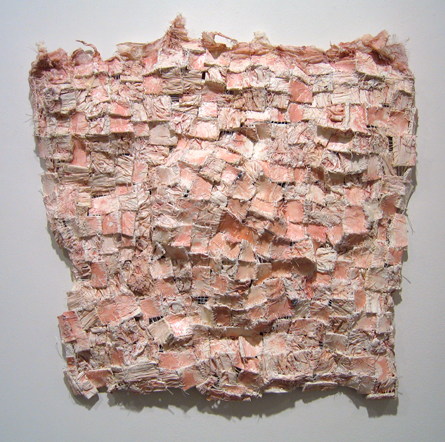 "Xipe , 2007 paper, cloth, acrylic paint, thread, marble dust 24"" x 24"" x 3"""