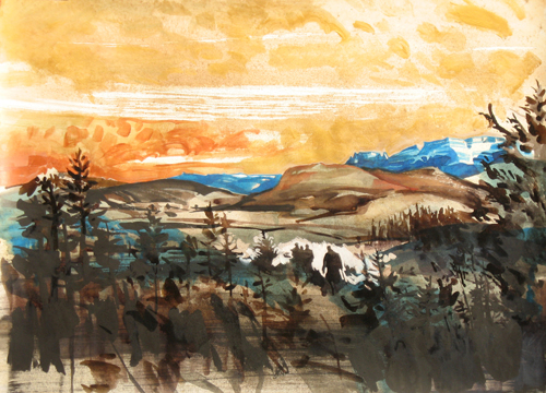 An Echo in the Western Hills , 2011 ink, acrylic, and watercolor on paper  20 x 27 inches