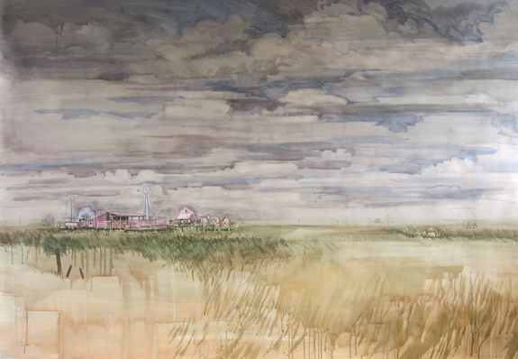 Prairie , 2011 Pencil and watercolor on paper  58 3/4 x 85 3/4 inches