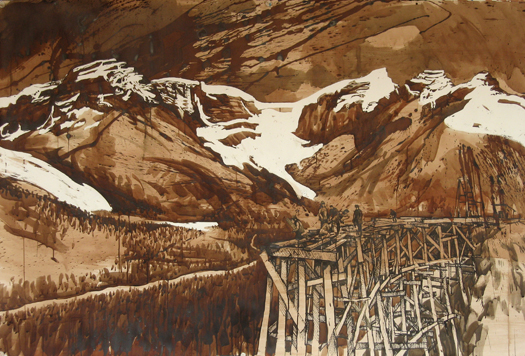 The Canadas , 2011 Ink and watercolor on paper  40 x 59 inches