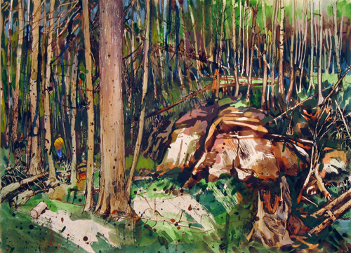 Train Siren in the Forest,  2011 Ink and watercolor on paper  20 x 27 inches