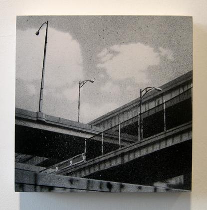 "Criss Cross , 2005 spray paint on panel 8"" x 8"""