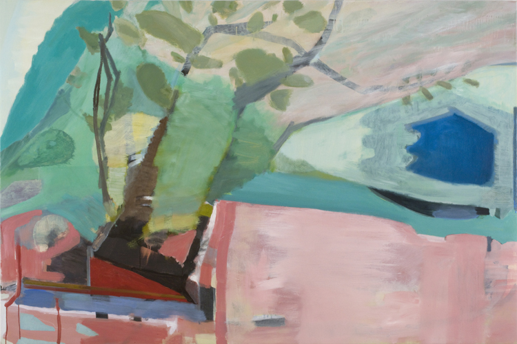 high winds along ouleout creek , 2010 oil on canvas 44 x 66""