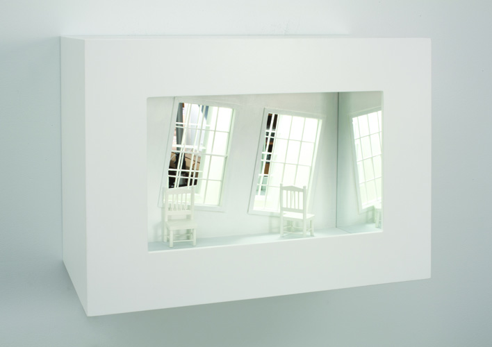 slanted,  2011 wood, mixed media, mirror, electrical lights 14 x 19 x 10""