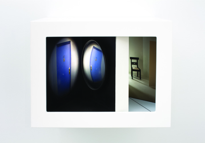 suspect , 2011 wood, mixed media, mirror, digital prints, plexi glass, electrical lights 10.5 x 14 x 10 inches
