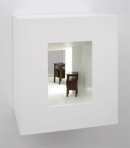reveal , 2011 wood, mixed media, mirror, electrical lights 13.5 x 11 x 9""
