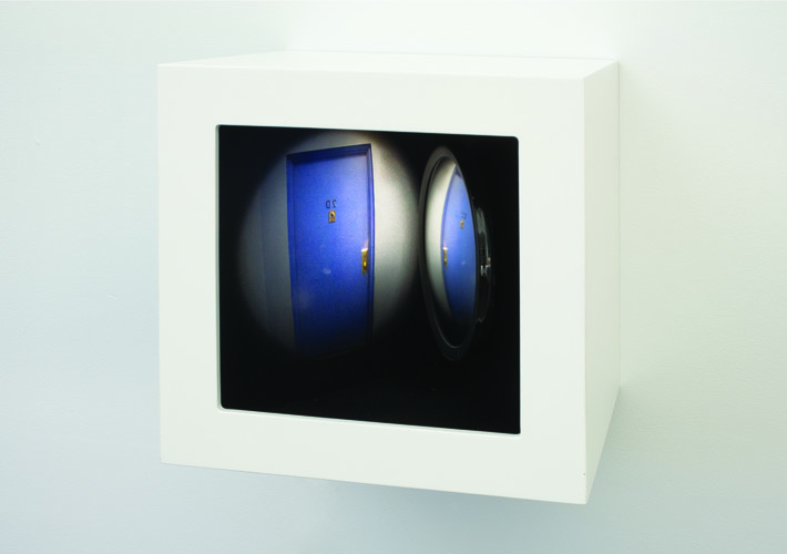 peep , 2011 wood, mixed media, mirror, digital print, plexi glass, electrical lights 10.5 x 10.5 x 10""