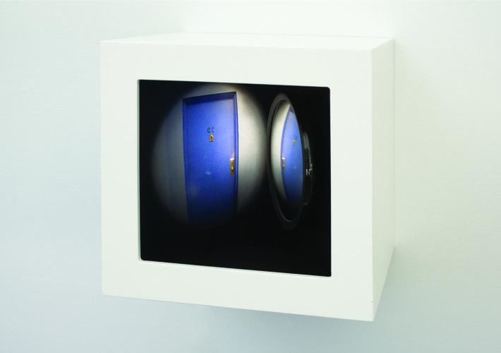 "peep , 2011 wood, mixed media, mirror, digital print, plexi glass, electrical lights 10.5 x 10.5 x 10"""