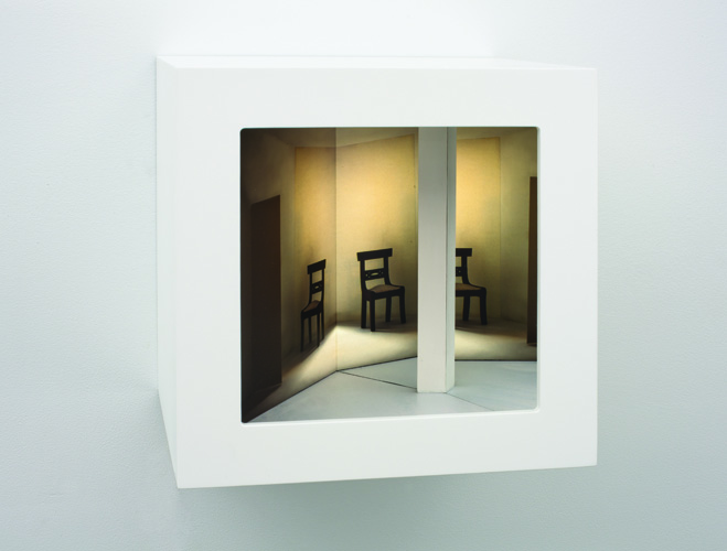 "hide and seek ,2011 wood, mixed media, digital print, plexi glass, electrical lights 10.5 x 10.5 x 9"""