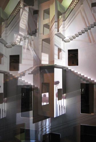 yellow wallpaper (detail) ,2011 wood, plexi-glass mirrors, gator foam, slide projections 16 x 16 x 8 ft