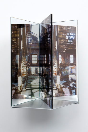 "condemned , 2009 aluminum, duraclear, glass mirror, Plexi-glass 16 x 9 x 10"""