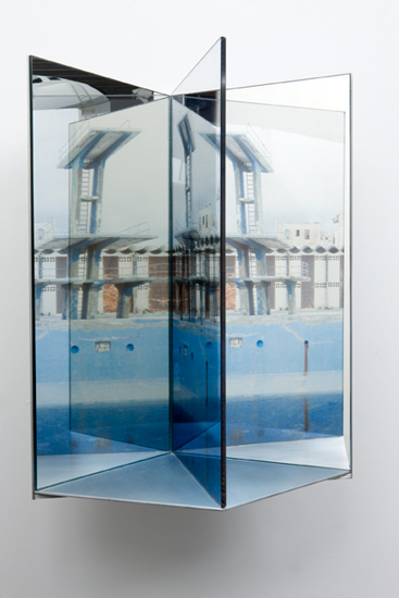 deep end , 2009 aluminum, duraclear, glass mirror, Plexi-glass 20 x 14 x 10""