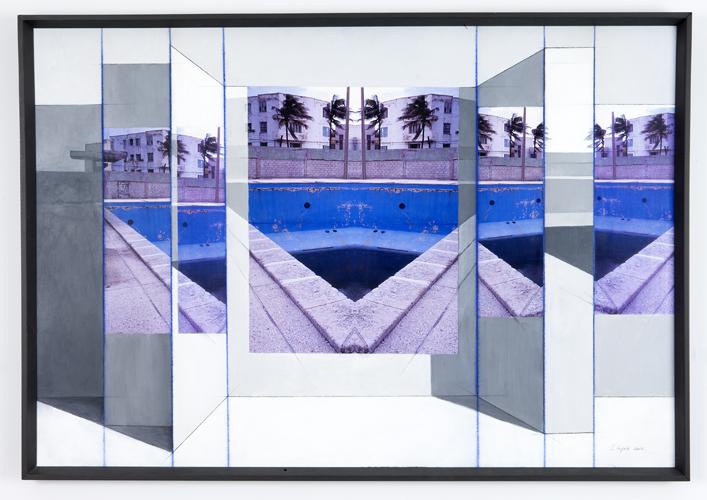 "empty , 2009 graphite, color Xerox, digital prints, acrylic paint, gator foam, chalk 33 x 48"""