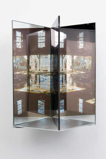 flood,  2009 aluminum, duraclear, glass mirror, plexi-glass 16 x 9 x 10""