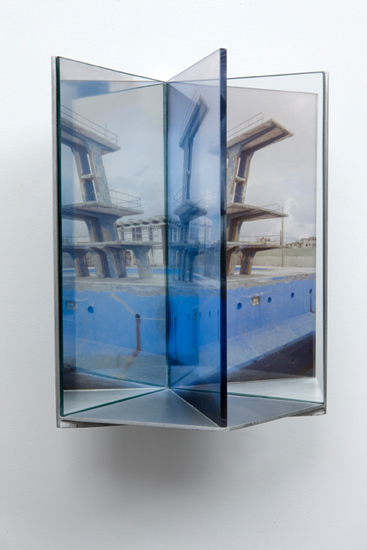 high dive , 2009 aluminum, duraclear, glass mirror, plexi-glass 12 x 8 x 9""