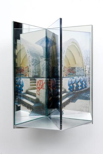 """platform , 2009 aluminum, duraclear, glass mirror, Plexi-glass 12 x 8 x 9"""""""