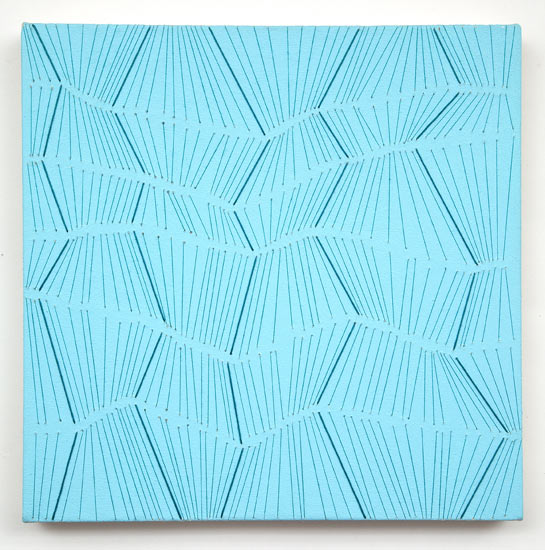 """bulge #14 , 2007 acrylic and thread on canvas 14 X 14"""""""