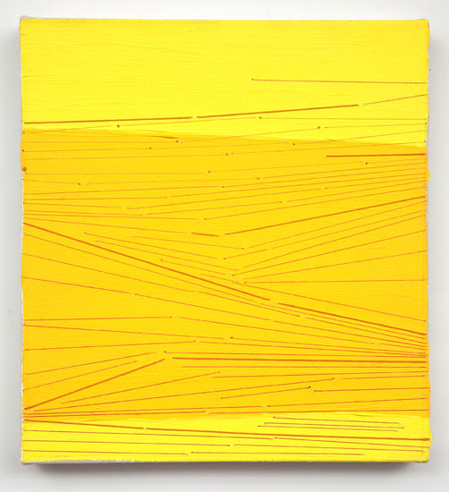 snap #22 , 2009 acrylic and thread on canvas 13 X 12""