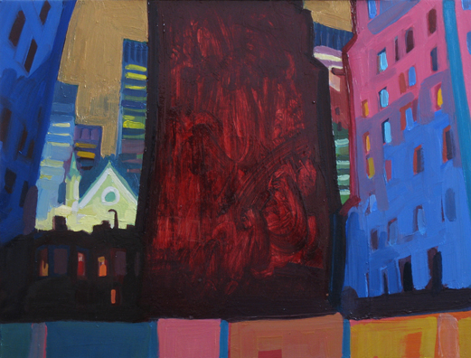 Renewal Off Broadway , 2008 oil on copper 9 7/8 x 13 inches