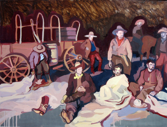 Pioneers! Oh Pioneers! , 2008 oil on aluminum  19 3/4 x 26 inches