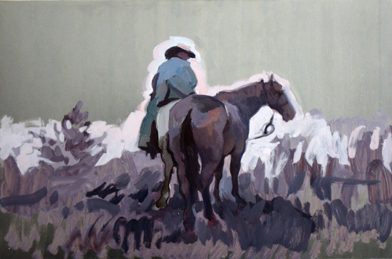 Frontier,  2008 oil on aluminum  13 x 19 3/4 inches
