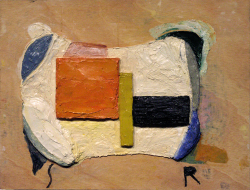 "modernist (reconstituted),  2005 oil paint, medium on plywood 18"" x 24 """