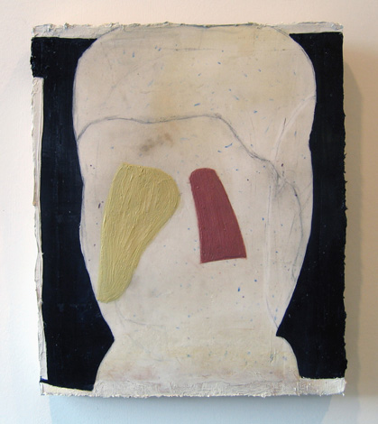 "On Dilema , 2007 oil, medium, paper on wool carpet 16"" x 13 1/4"""