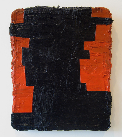 "For Men with Red Cheeks , 2007 oil, medium, paper on wool carpet 17"" x 13 1/2"" x 1 1/2"""