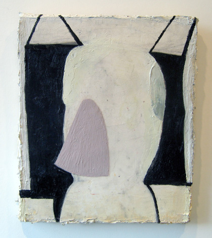 "On Having Smelt , 2007 oil, medium, paper on wool carpet 16"" x 13 3/4"""