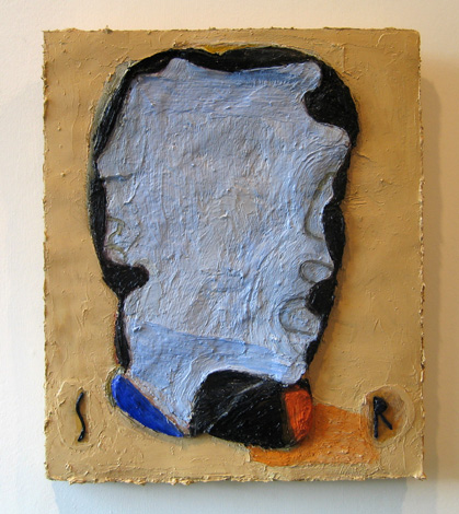 "Self Portrait, Lurking , 2007 oil, medium, paper on wool carpet 16"" x 13 1/4"""