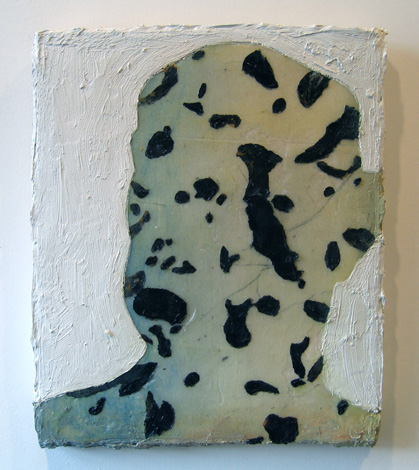 "Portrait of Liar B , 2007 oil, medium, paper on wool carpet 16 1/2"" x 13 3/4"""