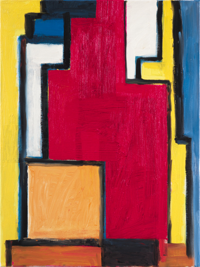 "homage to mondrian , 2009 oil on canvas 24"" x 18"""