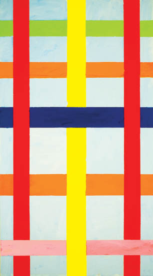 "blue sky with lattice , 2008 oil on canvas 61"" x 34 """