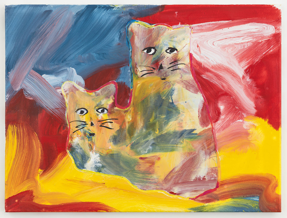 crazy cats 12 , 2017-18 oil on canvas 18 x 24 inches
