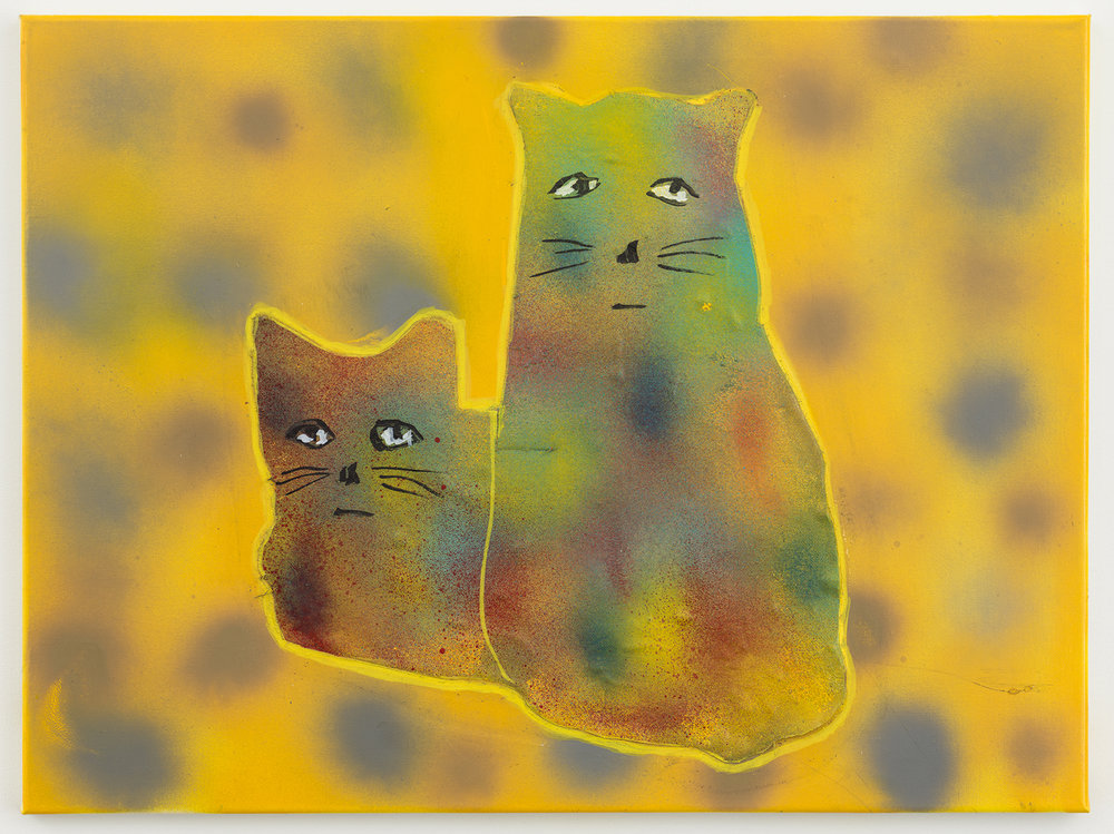 crazy cats 34 , 2017-18 oil on canvas 18 x 24 inches