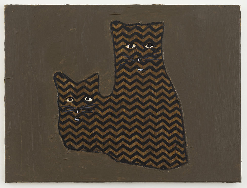 crazy cats 40 , 2017-18 oil on canvas 18 x 24 inches