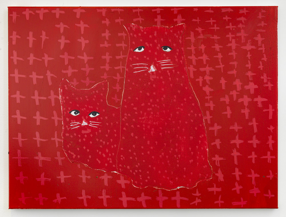 crazy cats 3 , 2017-18 oil on canvas 18 x 24 inches