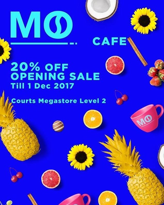 The big day has finally come and we're having a soft opening special of 20% off all items at our very own MO Cafe at COURTS Megastore, Tampines. So what are you waiting for? Come on down and enjoy a cuppa of our flavourful, colourful coffee paired with sweet treats because this promotion will only last for a week (until 1st Dec). Opening hours are 10am-10pm daily.