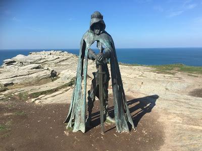 King Arthur statue at Tintagel Castle by Rubin Eynon