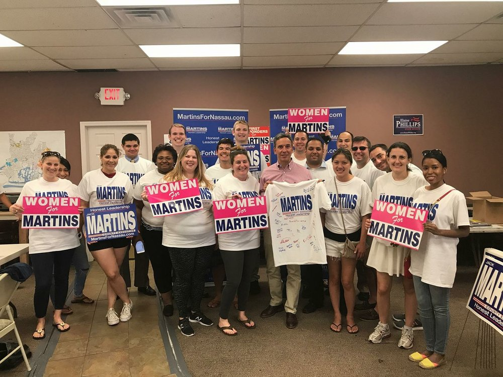 DCYRs with NYSYRs helping Jack Martins' for County Executive Campaign in August 2017.