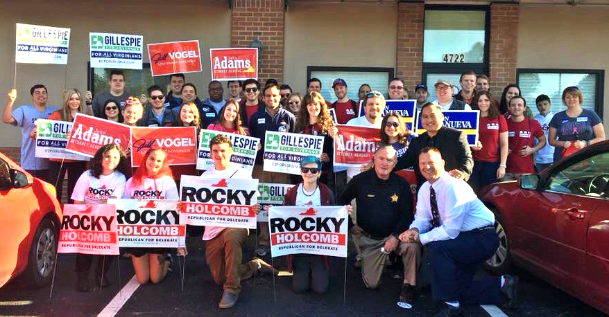 DC Young Republicans and Young Republican Federation of Virginia members with candidates for Virginia House of Delegates Ron Villanueva (21) and Rocky Holcomb (85).