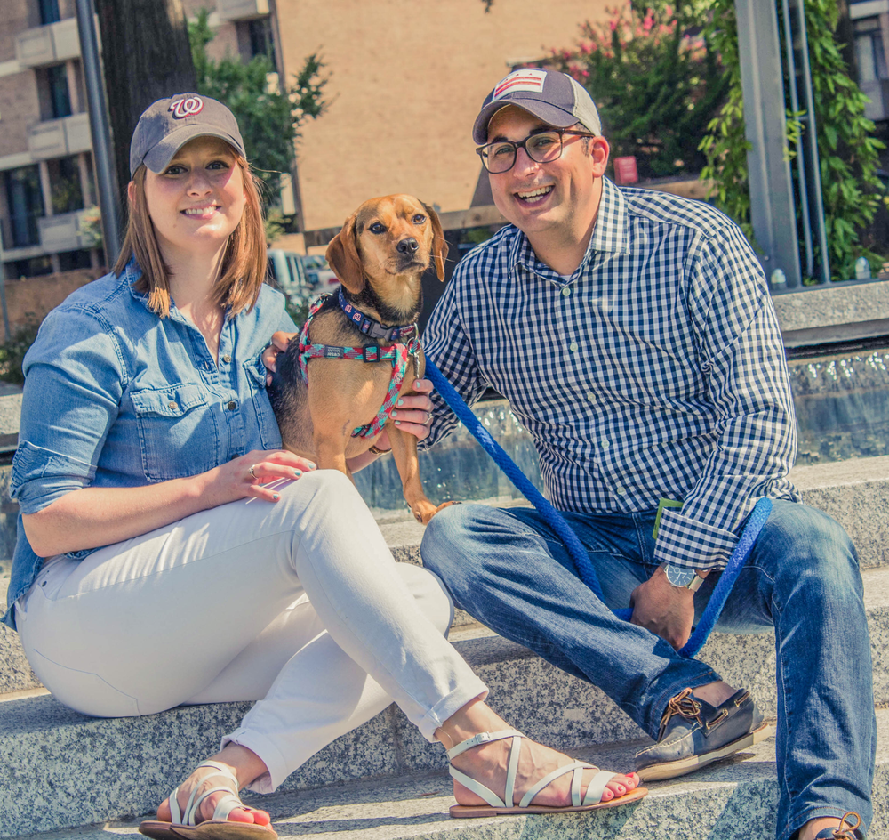 Michael Bekesha with his wife Holly and Sprocket.