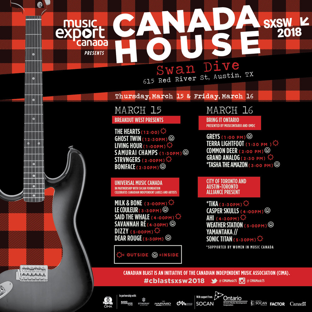 SXSW 2018 Music Export Canada Showcases