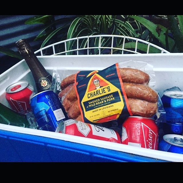Charlie's Sausage is a necessary component to any well packed Mardi Gras cooler. #charliessausage #wildboar #mardigras2018 #mardigrasessentials