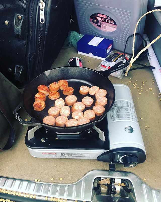 You ever cooked sausage in the trunk of a Volvo? #havesausagewilltravel #charliessausage #wildboar